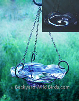 Hand Blown Glass Hanging Bird Bath