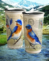Bluebird Postcard Ceramic Travel Mugs