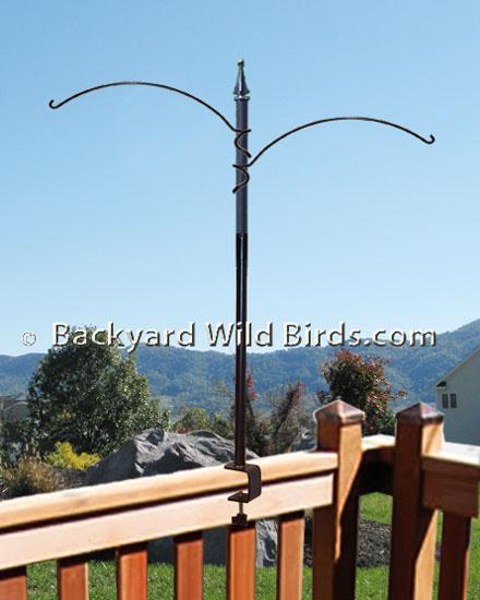 Deck Bird Feeder Pole Two Arm