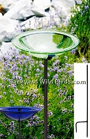 Glass Bird Bath Iron Stake