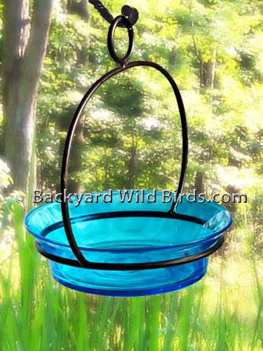 Hanging Aqua Glass Bird Bath