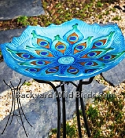 Stained Glass Peacock Bird Bath