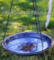 Blue Hanging Bird Bath