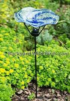 Hand Blown Blue Wave Bird Bath