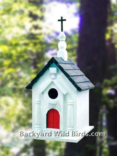 Church Bird House At Backyard Wild Birds