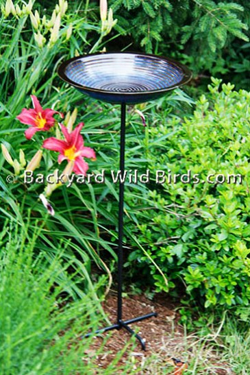 Blue Porcelain Bird Bath