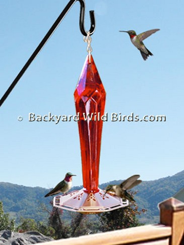 Blown Glass Diamond Ruby Hummingbird Feeder