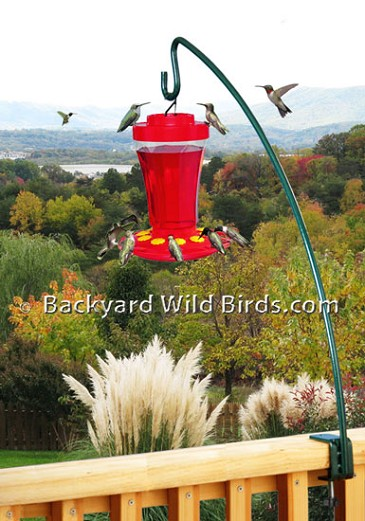 Deck Pole With Hummingbird Feeder