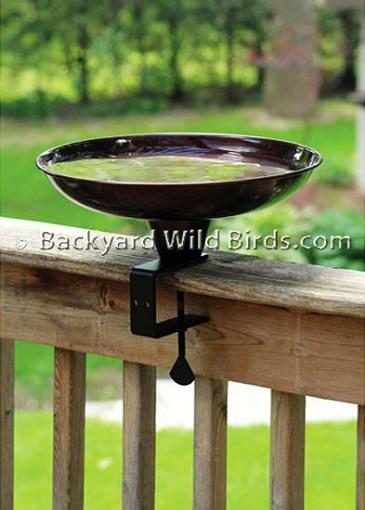 Deck clamp bird bath