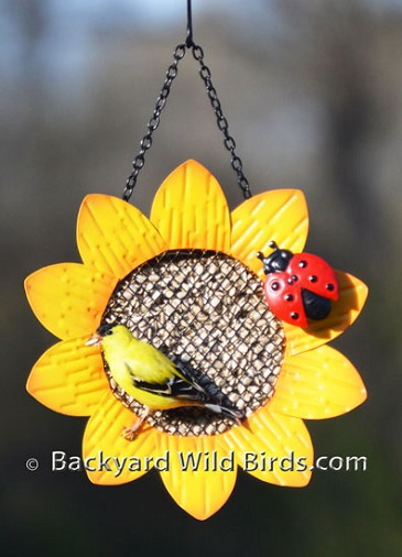 Sunflower Metal Bird Feeder