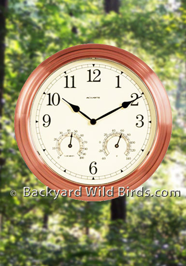 Home My Backyard Bird Outdoor Thermometers Copper Clock With Thermometer