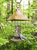 Copper Pagoda Tube Bird Feeder