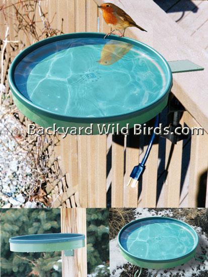 Deck Heated Bird Bath 3 Mounts