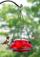 Blown Glass Red Hummingbird Feeder