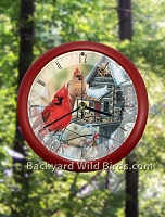 Cardinal Rustic Singing Bird Clock