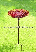 Red Flame Birdbath with Stand